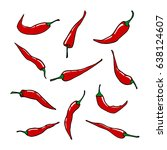 red chili pepper vector set | Shutterstock .eps vector #638124607