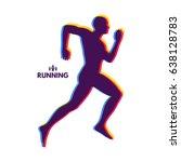 silhouette of a running man.... | Shutterstock .eps vector #638128783