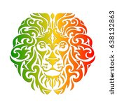 rasta theme with lion head on a ... | Shutterstock .eps vector #638132863