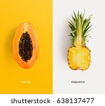 creative layout made of papaya... | Shutterstock . vector #638137477