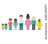 mixed black family.... | Shutterstock .eps vector #638139697