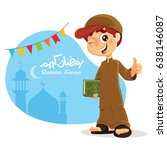 happy young muslim boy holding... | Shutterstock .eps vector #638146087