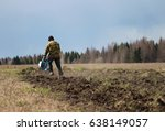 a man plows the land with a...   Shutterstock . vector #638149057