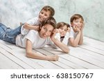 happy four children posing... | Shutterstock . vector #638150767