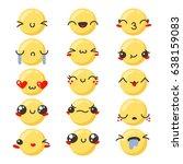 set of cute lovely kawaii... | Shutterstock . vector #638159083