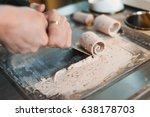 thailand stir fried ice cream... | Shutterstock . vector #638178703