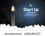 paper art of startup project... | Shutterstock .eps vector #638189137