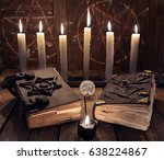 esoteric still life with two... | Shutterstock . vector #638224867