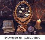 magic mirror with tarot cards... | Shutterstock . vector #638224897