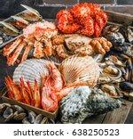 seafood cuisine plate as an... | Shutterstock . vector #638250523
