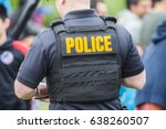 police uniform on the back of... | Shutterstock . vector #638260507