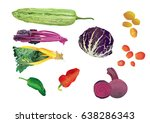 vegetable. | Shutterstock .eps vector #638286343