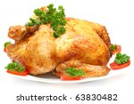 Baked Holiday Turkey with garnish isolated over white - stock photo