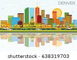 denver skyline with color... | Shutterstock . vector #638319703
