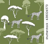 seamless pattern with cheetah... | Shutterstock .eps vector #638326573