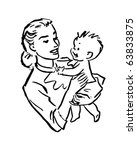 mother and baby   retro clipart ... | Shutterstock .eps vector #63833875