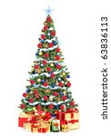 christmas tree and gifts. over... | Shutterstock . vector #63836113