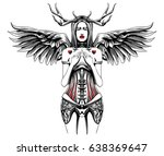 shy angel in a corset | Shutterstock .eps vector #638369647
