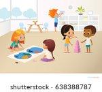 smiling kids doing different... | Shutterstock .eps vector #638388787