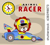 lion the car racer with... | Shutterstock .eps vector #638398873