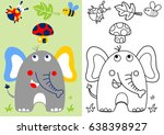 cute elephant with little... | Shutterstock .eps vector #638398927