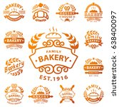 bakery gold badge icon fashion... | Shutterstock .eps vector #638400097