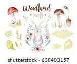 cute baby rabbit animal nursery ... | Shutterstock . vector #638403157