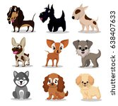 Stock vector cute happy dogs cartoon funny puppies vector characters collection 638407633