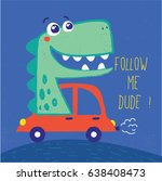 cute dinosaur illustration with ... | Shutterstock .eps vector #638408473