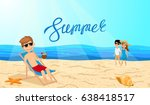 people on the beach. young man... | Shutterstock .eps vector #638418517