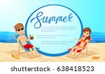man and woman sunbathing on the ... | Shutterstock .eps vector #638418523