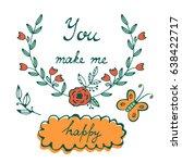 you make me happy. romantic... | Shutterstock .eps vector #638422717