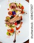 exquisite dish  grilled pork... | Shutterstock . vector #638427007