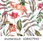 Stock photo seamless tropical flower plant and leaf pattern background 638427943
