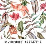 seamless tropical flower  plant ... | Shutterstock . vector #638427943