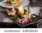 molecular cuisine dish with... | Shutterstock . vector #638428183