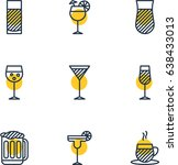 vector illustration of 9  icons.... | Shutterstock .eps vector #638433013