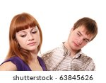 the young man with  looks at... | Shutterstock . vector #63845626