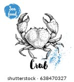 hand drawn sketch crab with big ... | Shutterstock .eps vector #638470327