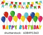 colorful letters happy birthday ... | Shutterstock .eps vector #638491363