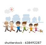 healthy three generation family ... | Shutterstock .eps vector #638492287