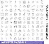 100 winter time icons set in... | Shutterstock .eps vector #638501923