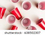top view of plastic disposable...   Shutterstock . vector #638502307