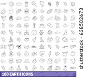 100 earth icons set in outline... | Shutterstock .eps vector #638502673