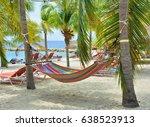 hammock hanging between palm... | Shutterstock . vector #638523913