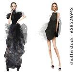 cute fashion cartoon girls in... | Shutterstock . vector #638526943