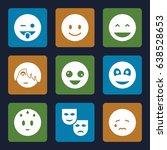 smile icons set. set of 9 smile ... | Shutterstock .eps vector #638528653