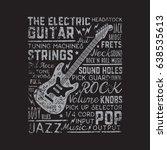 rock music  guitar typography ... | Shutterstock .eps vector #638535613