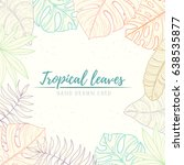 hand drawn tropical palm leaves ... | Shutterstock .eps vector #638535877