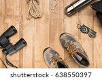 traveler set on wooden...   Shutterstock . vector #638550397